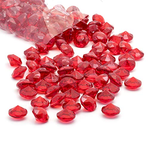 Royal Imports Acrylic Diamonds Gems Crystal Rocks for Vase Fillers, Party Table Scatter, Wedding, Photography, Party Decoration, Crafts, 1 LB (Approx 140-160 gems) - Red