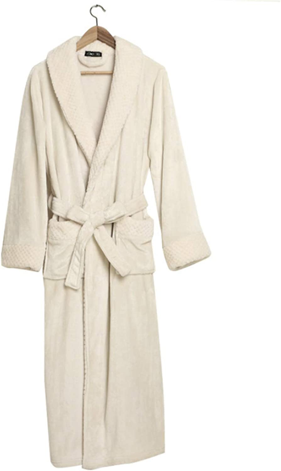 Couple Flannel Solid color Robe, Shawl Collar UltraSoft Spa Long Bathrobe  Absorbent, Durable and Comfortable  White,XXXL