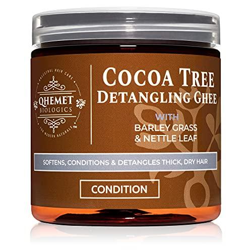 Qhemet Biologics Cocoa Tree Detangling Ghee - Softening Detangler Ideal for High Porosity 4C-3C Hair - Makes Combing Easier & Restores Pliability, Elasticity & Softness to Dry, Matted Hair (9 oz)