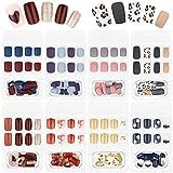 192 Pieces 8 Boxes Fake Nails Press on Nails Short False Colorful Acrylic Nails Full Cover Short Square False Nails Artificial Nail Tips with 8 Sheets Fake Nail Glue Stickers (Classic Style)