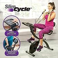 BulbHead - Bicicleta estática plegable para interiores con bandas de resistencia y monitor cardíaco, ideal para ejercicios cardiovasculares, Ciclo delgado