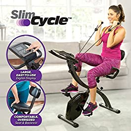 BulbHead As Seen On TV Slim Cycle 2-in-1 Stationary Bike – Folding Indoor Exercise Bike with Arm Resistance Bands and…