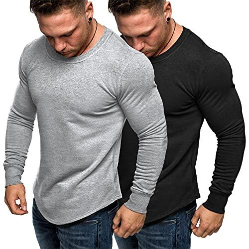 JINIDU Sudaderas de manga larga para hombre, cuello redondo, 2 unidades, negro / azul claro, S