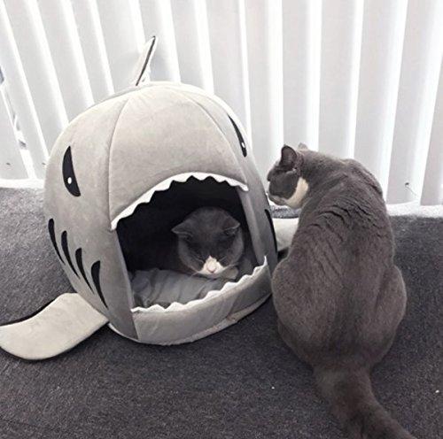 BADASS SHARKS Hai-Motive Hundehütte Hundebett Hundekörbchen Katzenbett mit Kissen Hundehaus Haustier Schlafsack für drinnen Waschbar Haus & Sofa 42cm (Grau-50cm)