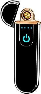 Lighter,Electric USB Windproof Rechargeable Slim Coil Lighter with Smart Fingerprint Sensor Double Side Ignition and Battery Indicator(Black)