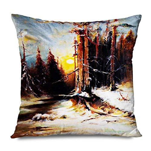 Suo Long Funda de cojín Naranja Rama Puesta de Sol Cielo Invierno Bosque Naturaleza Abstracto Rojo Color frío País Funda de Almohada Digital