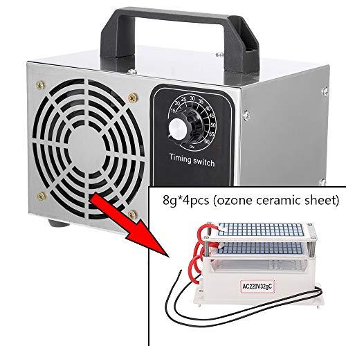 yorten Generador de Ozono, 10g/h Portátil Ozonizador Purificador De Aire Eléctrico Profesional 220V/50Hz para Hogar, Oficina, Humo,Automóviles y Mascotas