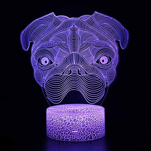 Fantasy Perro 3D Luz de Noche 16 Cambio de Color Lámpara Acrílico Plano ABS Base USB Cargador Decoración del Hogar Juguete Brithday Navidad Niño Niños Regalo