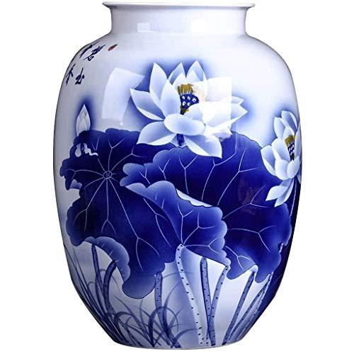 HKAFD Florero creativo Adornos de cerámica gran hogar sala de estar decoración de la botella decoración pintado a mano flor de porcelana azul y blanco