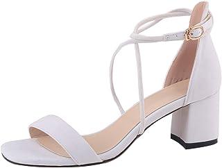 d46d9309416173 wealsex Sandales Été Femme Bride Cheville Talon Haut Bloc Ouverte Daim  Escarpins Chaussures A Talons Fermeture
