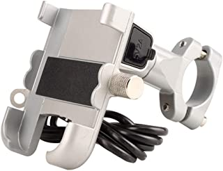 ZHANGXIAOYU Aluminum shock spring charging mobile phone holder riding equipment (Color : Silver)