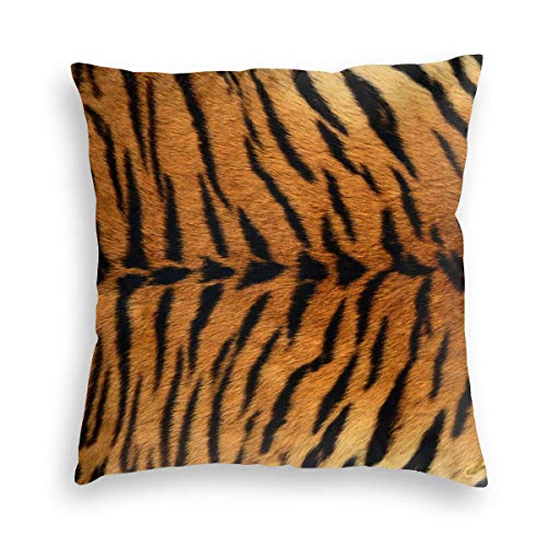 Feamo Animal Tiger Print Velvet Soft Decorative Square Throw Pillow Covers Cushion Case Pillowcases for Sofa Chair Bedroom Car 18X18inch