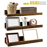 Giftgarden 16 Inch Floating Shelves for Wall Set of 3, Rustic Wall Mounted Picture Ledge Shelf for Bathroom Bedroom Living Room Kitchen, 3 Different Sizes
