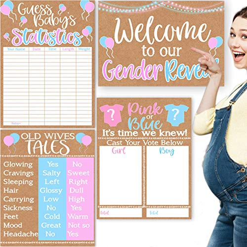 """Gender Reveal Party Posters, Gender Reveal Game Posters, Gender Reveal Voting Board, 4 Pack Gender Reveal Party Games 11x17"""""""