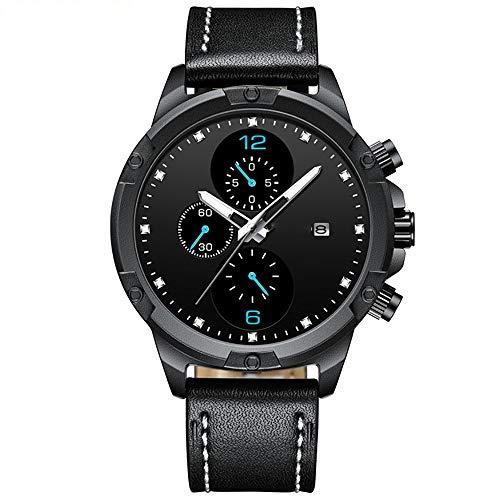 Voigoo Herrenuhren 2020 Minimalist Herrenmode Einfache Herren Business Wasserdicht Chronograph echtes Leder-Gurt-Quarz-Uhr