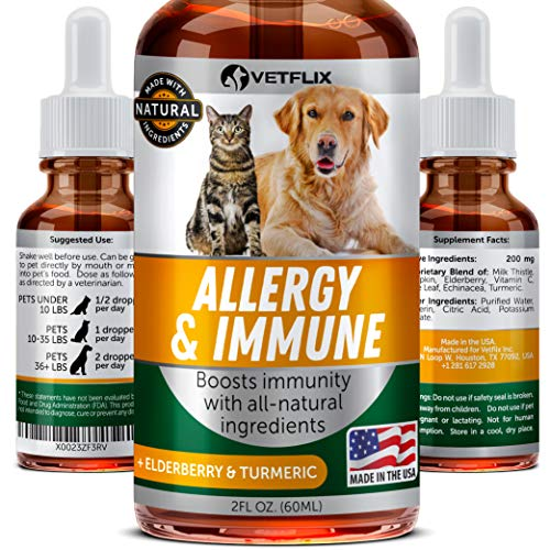 Pet Allergy & Immune Support - Made in USA - Cat & Dog Allergy Relief - 100% Natural - Milk Thistle & Turmeric - Best Treatment for Dog & Cat Immune System - Vitamin C for Pets - Non-GMO