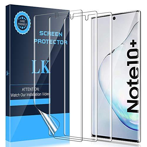LK Compatible con Samsung Galaxy Note 10 Plus Protector de Pantalla,2 Piezas,Admite la Función de Huella Digital,Película Protectora de TPU,Alta Definición y Sensibilidad, LK-X-26