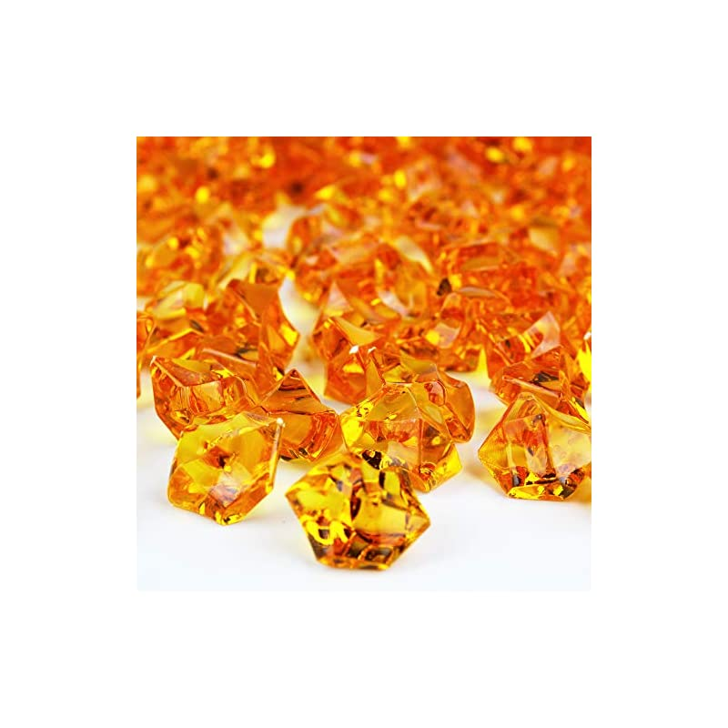 silk flower arrangements cys excel acrylic orange crushed ice vase fillers (approx. 180-190 pcs, 3 cups) | multiple color choices plastic crushed glass for arts & crafts | acrylic rock gems table scatter