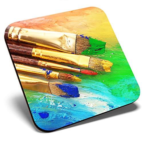 Posavasos cuadrados de gran tamaño – Impresionante pintor de pinceles   Posavasos de calidad brillante   Protección de mesa para cualquier tipo de mesa #14187