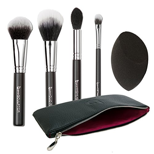 Contour Highlighter Makeup Brush Set - Best 5 pc Powder Cream Full Face Contouring Brushes and Latex Free Blender Sponge Kit with Case, Professional Quality Soft Synthetic Vegan Brochas Para Ojos