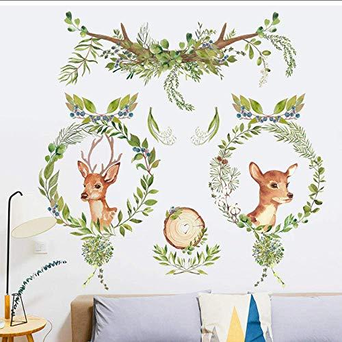 Muurstickers groene boom blad slinger hert behang zelfklevende poster huis woonkamer saloon winkel decor schattig hert muur sticker sticker sticker sticker