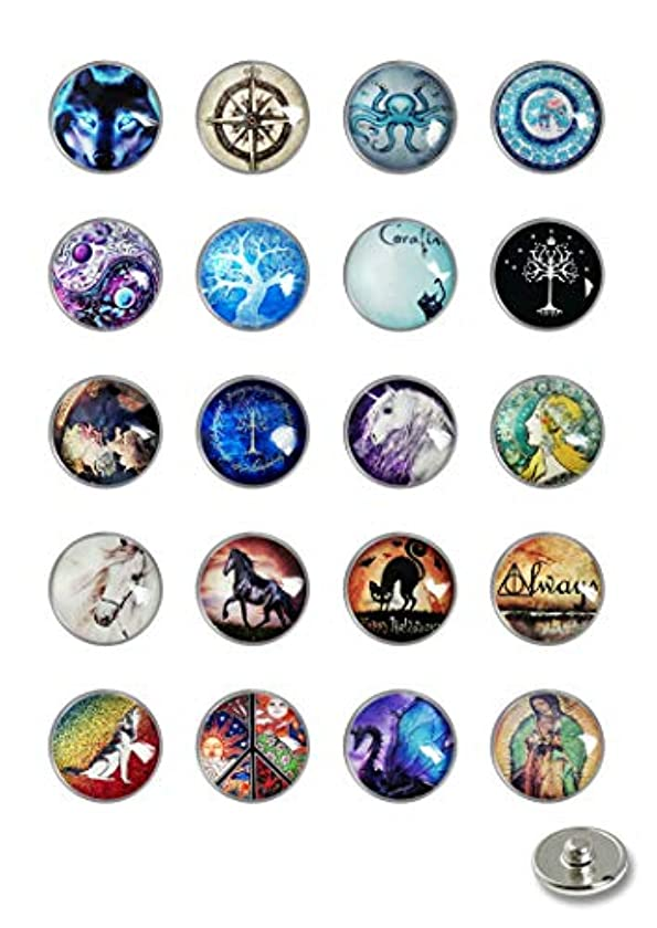 XuSuJuan Image Custom Pack of 20Pcs Style Glass Noosa Snaps Buttons 18-20mm for Interchangeable Snaps Jewelry (A3)