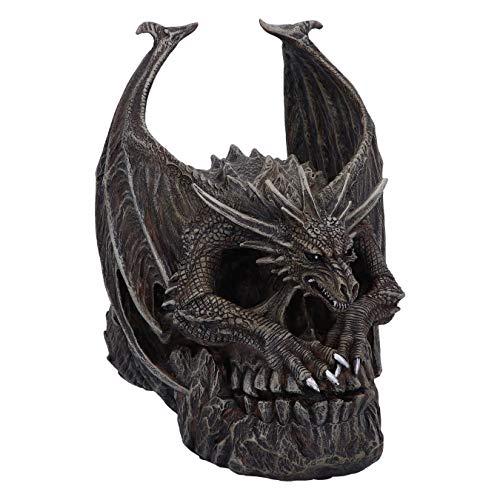 Nemesis Now Spiral Dark Gothic Draco Skull Dragon Figurine Ornament, Brown, 19cm