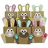 Papierdrachen DIY Osternester für Kinder mit bunten Osterhasen - Ostergeschenke