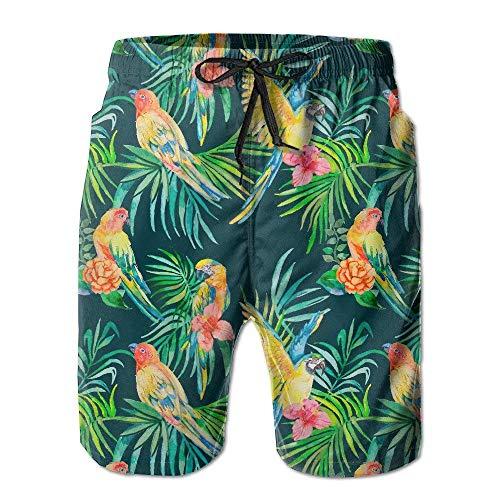 Preisvergleich Produktbild RAINNY Men's Lightweight Quick Dry Beach Shorts Parrot On The Leaf Swim Trunks Large L