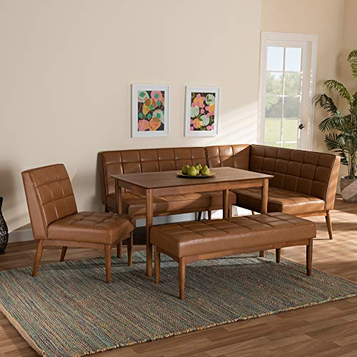 Baxton Studio 184-11346-11347-11348-9305-AMZ Dining Nook, Tan/Walnut Brown