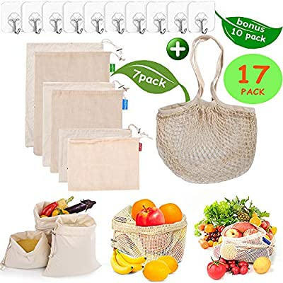 Reusable Produce Bags, Organic Cotton Mesh Bags Muslin Bags with Drawstring Reusable Grocery Bag for Shopping & Storage, Washable, Biodegradable, Eco-friendly, Tare Weight Wall Hook Total 17 Pack