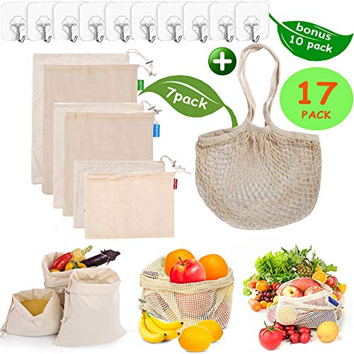 Reusable Produce Bags, Organic Cotton Mesh Bags Muslin Bags with Drawstring Reusable Grocery Bag for Shopping & Storage, Washable, Biodegradable, Eco-friendly, Tare Weight 17 PACK