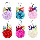 vosarea 6 pezzi portachiavi pompon pelliccia ciondolo portachiavi da borsa a mano con farfalla decorazione sospesa da borsa per donne e ragazze