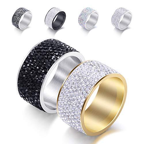 Anelli rotondi in acciaio inox 8 file di diamante CZ 12 mm di larghezza grande anello di fidanzamento da uomo, 7, Titanio, zirconia cubica,