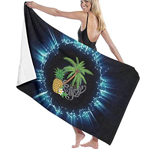 xcvgcxcvasda Badetuch, Pineapple Tree Flower Halo Prints Bath Towel Wrap Spa Shower and Wrap Towels Swimming Bathrobe Cover Up for Ladies Girls White