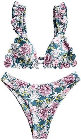 ZAFUL Women s Plunging Front Knotted Ruffle Deep V Neck Bralette High Cut Bikini Set F Multi product image
