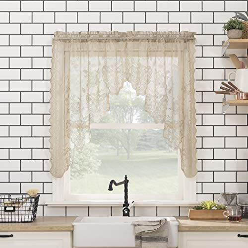"""No. 918 Alison Floral Lace Sheer Rod Pocket Kitchen Curtain Swag Pair, 58"""" x 38"""", Stone"""