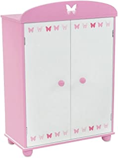 Emily Rose 18 Inch Doll Furniture | Doll Closet Armoire with Butterfly Detail, Includes 5 Wooden Clothes Hangers | Fits 18