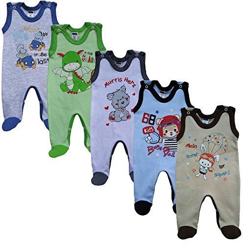 MEA BABY Unisex Baby Strampler mit Aufdruck, Baumwolle 5er Set (68, Jungen)