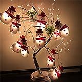 JSONA Cadena de Luces LED de Navidad Decorativas Cuerdas de LED de muñeco de Nieve para decoración Colgante de árbol de Navidad Linterna Impermeable para el jardín del hogar, Interior, Exterior, v