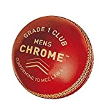 Gm Men - Balón de críquet (Cromo, Grado 1, Talla única), Color Rojo
