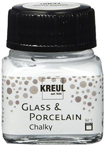 Kreul 16631 - Glass und Porcelain Chalky, sanft - matte Glas- und Porzellanmalfarbe auf Wasserbasis, schnelltrocknend, deckend, 20 ml Glas, White Cotton
