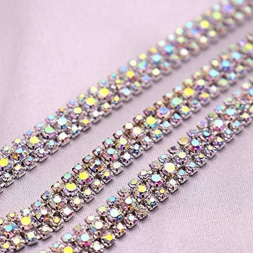 AUBERSIT Cadena de Copa de Diamantes de imitación, Base Plateada Crystal AB 3 Filas Adornos de Diamantes de imitación de Vidrio, 3 Filas AB