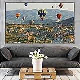 SSHABC Estambul Turquía Globo aerostático Lienzo Pintura Paisaje póster Impresiones y póster Cuadro de Arte de Pared decoración del hogar Sala de estar-60x90cm-sin Marco