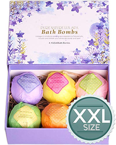 LuxSpa Bath Bombs Gift Set - The Best Ultra Natural Bubble Fizzies with Dead Sea Salt Cocoa and Shea Essential Oils, 6 x 4.1 oz, The Best Birthday Gift idea for Her/Him, Wife, Girlfriend, Women.