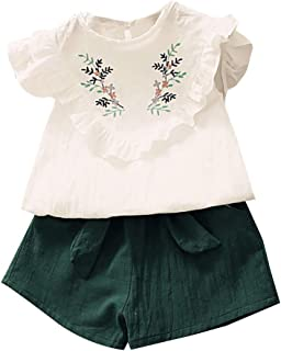 Weixinbuy Baby Girls Summer Clothes Embroidery Floral Print Flare Sleeve T-Shirt Tops + Shorts Casual Outfit Set