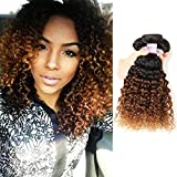 RACILY 1B/#30 Ombre Brazilian Kinky Curly Hair 3 Bundles, 10A Remy Dark Blonde Curly Weave Human Hair Extensions 100g, 100% Unprocessed Brazilian Virgin Hair Color Brown (16'18'20', 1B/30)