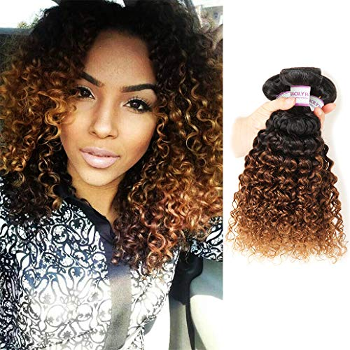 1B #30 Ombre Brazilian Kinky Curly Hair 3 Bundles, 10A Dark Blonde Curly Weave Human Hair Extensions 100g, 100% Unprocessed Brazilian Hair Color Brown (10  12  14 , 1B 30)