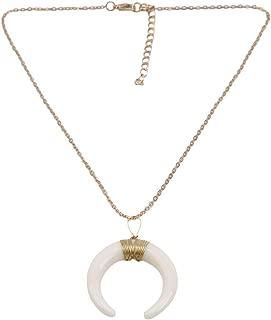 Timetries Bohemia Moon Pendant Personality Ethnic Style Round Copper Short Vintage Necklace