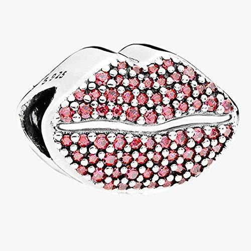 BAKCCI 2018 Valentinsgeschenk Big Mouth Kiss Bead 925 Silber DIY passt für Original Pandora Armbänder Charm Modeschmuck